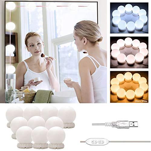 Luci di Specchio Vanit, Kit Luci per Specchio Stile Hollywood Trucco, 10 Lampadine LED Dimmerabili a...
