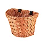 POWSTRO K Bike Basket, Wicker Front Handlebar Bicycle Storage Cruiser Basket Portable Shopping Basket with Leather Straps for Women Kids Boys Girls Bicycle Accessory, Small Size