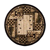 Great American Distributors - Animal Print Forest Theme Area Rug - Rustic Hunting Lodge Decor, Novelty Print, Geometric Tribal Pattern, Living Room Carpet, Brown, Green, Beige, 6 Feet 7 Inches Round
