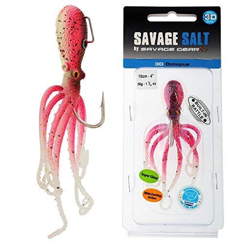 Savage Gear 3D Octopus 10-22 cm esche in gomma per pesca in mare Oktopus Imitation, UV Pink Glow., 10cm / 35g