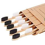 Biodegradable Bamboo Toothbrushes, 10 Piece BPA Free Soft Bristles Toothbrushes, Natural, Eco-Friendly, Green and Compostable