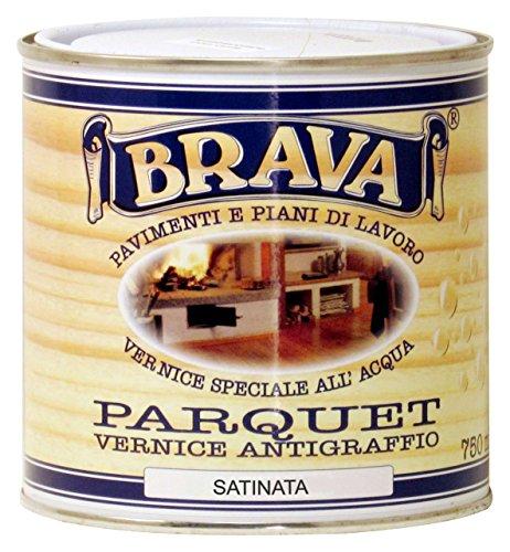 Brava PA7S Parquet Vernice all'Acqua Satinato, Incolore, 750 ml