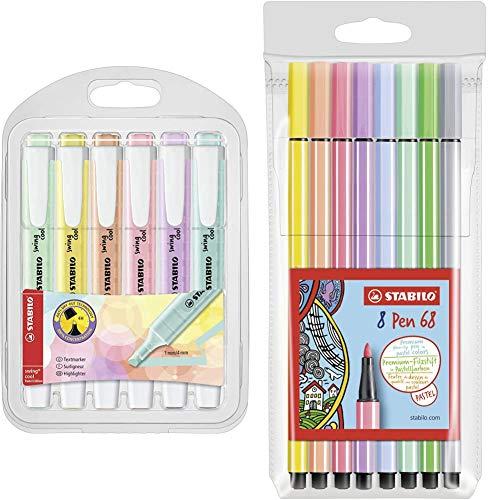 Stabilo Swing Cool Pastel - Astuccio con 6 Evidenziatori Colori Assortiti & Pen 68 Astuccio da 8 Colori Pastello, 8 Pezzi