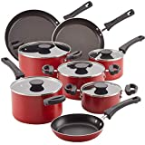 Farberware 22246 Neat Nest Space Saving Nonstick Cookware Pots and Pans Set/Dishwasher Safe, Made in The USA, 13 Piece, Red