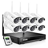 ZOSI Wireless Security Cameras System H.264+ 1080P 8 Channel Wireless NVR System 1TB Hard Drive with 8pcs Full HD 1080P 2.0MP Weatherproof Bullet IP CCTV Cameras, Smart Recording, Motion Detection