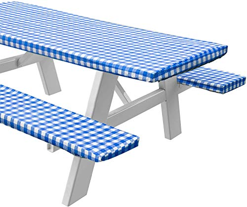 Sorfey Vinyl Picnic Table and Bench Fitted Tablecloth Cover,...