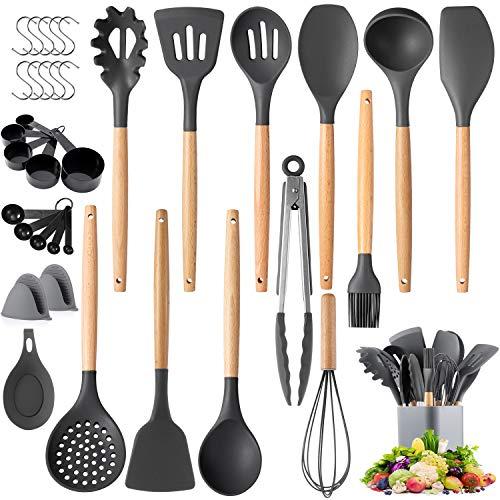 Kitchen Cooking Utensils Set, Senbowe 36 pcs Non-stick Silicone Cooking Kitchen Utensils Spatula Set with...
