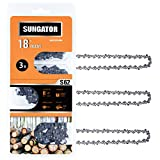 SUNGATOR 3-Pack 18 Inch Chainsaw Chain SG-S62, 3/8' LP Pitch - .050' Gauge - 62 Drive Links, Fits Craftsman, Husqvarna, Ryobi, Homelite, Poulan