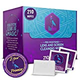 Blue Merlin Lens Wipes | Pre Moistened Glasses Wipes Also for Phone Screen and Camera Lenses | Perfectly Saturated | Eyeglass Cleaner | 210 Travel Lens Wipes | Safe for Coated Lens Cleaning
