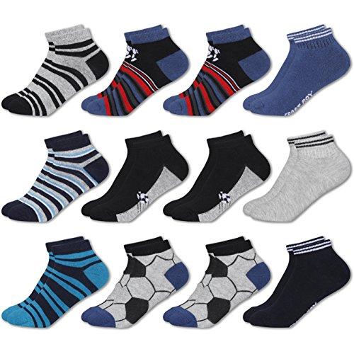 MC.TAM Calzini Calze Sneaker Colorate da Ragazzi 12 Paia 90% Cotone Oeko Tex Standard 100, 27-30, 12 Paia Calze Sneaker Ragazzi