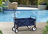 S2 Lifestyle G3GC00023A Collapsible Folding Wagon Cart with Wheels, Navy Blue