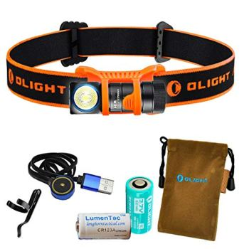 OLIGHT H1R 600 Lumens Rechargeable LED Headlamp w RCR123A Battery, Magnetic USB Charging Cable, and LumenTac CR123A Battery (Orange, Cool White)