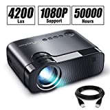 ELEPHAS Mini Projector, Full HD 1080P and 180' Display, 4200 Lux Portable Home Theater Projector with 50,000 Hours LED Lamp Life, Compatible with USB/HD/SD/AV/VGA Interfaces