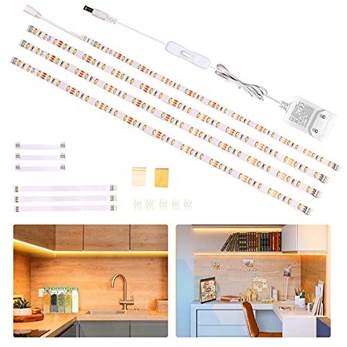 Wobsion striscia led bianco caldo 2m,4X50cm striscia led luce calda,strisce led adesive,strisce led 220v da interno,luci led sottopensile 1200 LM 2700K,led sottopensile cucina,striscia led per cucina