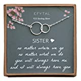 EFYTAL Sister Gifts from Sister, 925 Sterling Silver Double Circle Necklace, Birthday Jewelry Gift Necklaces for Sisters, No Matter