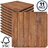 Mammoth Easy Lock Sustainably Sourced Solid Acacia Wood Oiled Finish Interlocking Deck Tiles, Water Resistant Outdoor Patio Pavers or Composite Decking Flooring, Pack of 11 (11 SQFT) (Stripe (6 Slat))