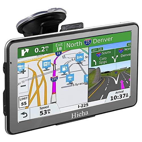 Hieha GPS Navigation Systems for Car Truck Vehicles 7 Inches 8GB 256Mb Navigation Device HD Touch Screen Navigation with Preloaded US/CA/MX Maps and Back Bracket, Lifetime Free Map Updates