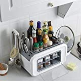 Madeinely Juego de cajas para condimentos, tarros para especias, maletín para condimentos, tapa Rack, kit de utensilios de cocina, organizador de cocina (tamaño: 48,5 x 23 x 42 cm; color: gris)