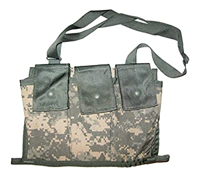 Worn over the shoulder Genuine usgi issue Made in the USA Holds 6 magazines of 5.56mm ammunition