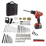 Stalwart 20V Cordless Drill with Rechargeable Lithium-Ion Battery and 89 Piece Accessory Set - Portable Power Tool with Bits, Drivers and Brushes