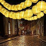 Qedertek Lampion Lichterkette Außen, 10M 30er LED Laternen mit Stecker, 2 Modi Wasserdich und Timer Gartenlaterne Lichterkette für Garten, Balkon, Party, Hof, Hochzeit (Warmweiß)