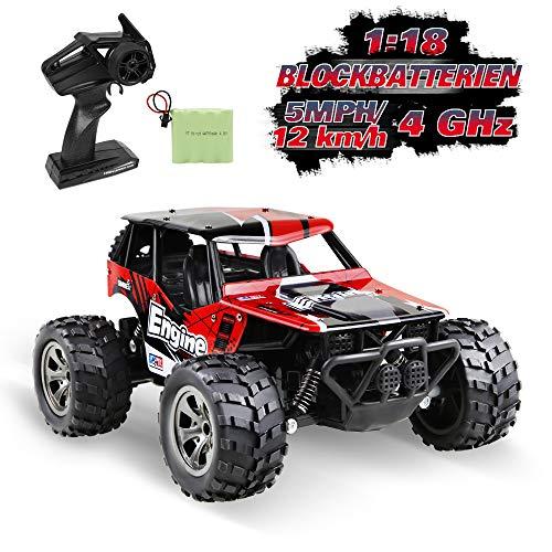 infinitoo Ferngesteuertes Auto, 1:18 Maßstab RC Auto Spielzeug mit Hohe Geschwindigkeit, 2,4 GHz 2WD Ferngesteuerte Geländewagen für Kinder Geschenk
