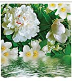 Planta Verde Flor jazmín Cortina de Ducha de baño,poliéster Impermeable y de...