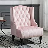 Artechworks Velvet Tufted High Back Accent Chair for Living Room, Bedroom, Home Office, Hosting Room, Wingback Club Chair, Pink Color