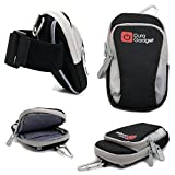 DURAGADGET Black & Grey Nylon Armband Carry Case - Suitable for use with Doro 5030 | 5516 | 6530 | 820 Mini Claria & PhoneEasy 745