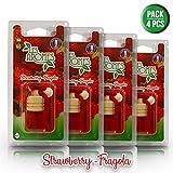 Les Arômes - Mini Bottle Deodorante Auto da Appendere, Bottiglia in Vetro e Tappo in Legno. Fragranza: Fragola - Pack 4 PZ