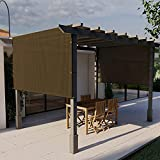 E&K Sunrise Outdoor Shade Canopy Cover Screen with Grommets Weighted Rods 10'x16' for Pergola Porch Patio Deck Shade Cloth Sun Shade Panel 95% UV Block Brown