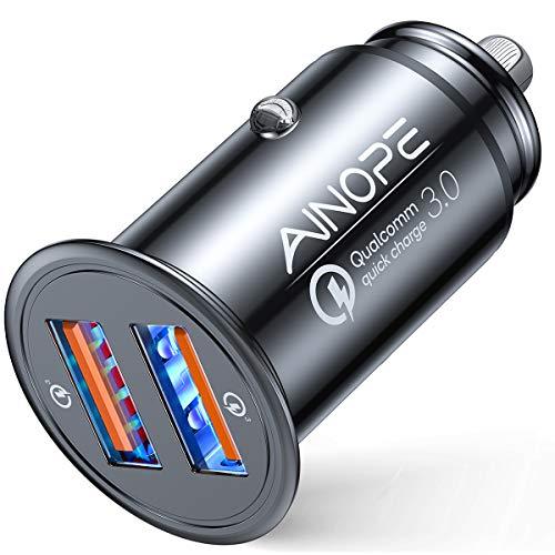 AINOPE シガーソケットusb, [デュアルQC3.0ポート] 36W/6A 超小型 [すべての金属] 高速車の充電器 車usb シ...