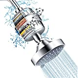 Shower Head and 15 Stage Shower Filter Combo, FEELSO High Pressure 5 Spray Settings Filtered...