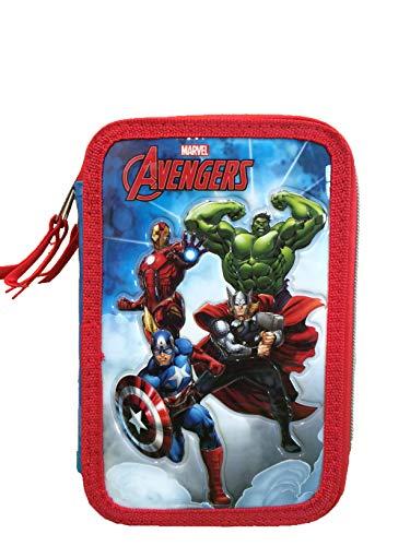 CP Marvel Avengers Astuccio 3 Zip , Porta Penne Triplo Completo Carioca , Astuccio Completo Tre...