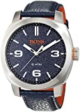 Three-hand Quartz Movement Stainless steel Case Leather strap Navy Dial Note: Box may be black instead of orange Water resistance: 5 ATM or 50 meters