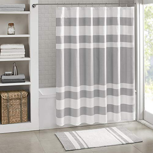 Madison Park Spa Waffle Shower Curtain Pieced Solid Microfiber Fabric...