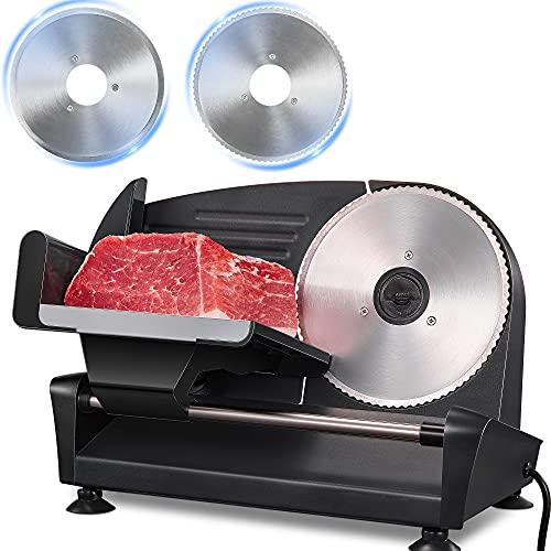 Affettatrice Elettrica da Casa - 200W Affettatrice Professionale con 2 x 19mm Lama Seghettat, 0-15mm Spessore Regolabile Affettatrice Universale per Carne, Pane, Verdura, Argento