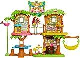 Enchantimals Coffret Maison Café Jungle Enchantée, Mini-poupée Peeki Perroquet, Figurine Animale Sheeny, balançoire et accessoires, jouet enfant, GNC57