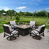 Kinger Home Propane Fire Pit Table 5-Pieces for Outside Patio, 42 Inch Stone Tile Top Deck LP Fire Pit Table, 4 Rattan Wicker Swivel Chairs with Blue Outdoor Cushions