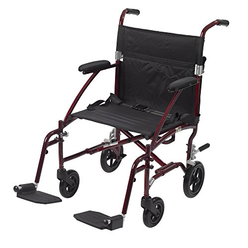Drive Medical Fly Lite Ultra Lightweight Transport Wheelchair, 19', Red Frame