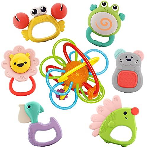 Nene Toys - 7 pezzi Discovery Animals Set Sonagli e Massaggiagengive per Bambini Senza BPA con Gioco di Anelli per Dentizione Premium
