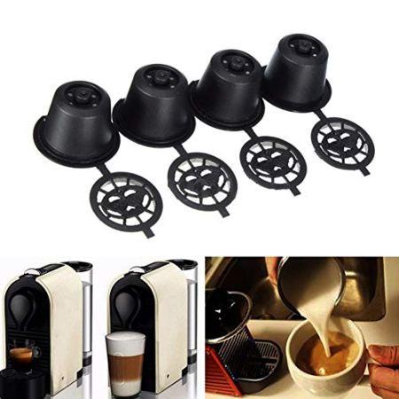 4 x hilai nachfüllbare, wiederverwendbare Kaffeekapseln für Nespresso-Maschinen