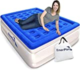 EnerPlex Premium Luxury Queen Size Air Mattress Inflatable Airbed with Built in Pump Raised Double High Queen Blow Up Bed for Home Camping Travel 2-Year Warranty