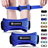 CAMBIVO Patella Knee Strap, 2 Pack Knee Support, Adjustable Patellar Tendon Support, Knee Band with Pads for Running, Hiking, Volleyball, Jumpers Knee, Tendonitis, Arthritis (Blue)
