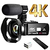 """4K Video Camera Camcorder with Microphone 30FPS 48MP Vlogging Camera with Rotatable 3.0"""" Touch Screen and Time-Lapse Digital Camera IR Night Vision Webcam"""
