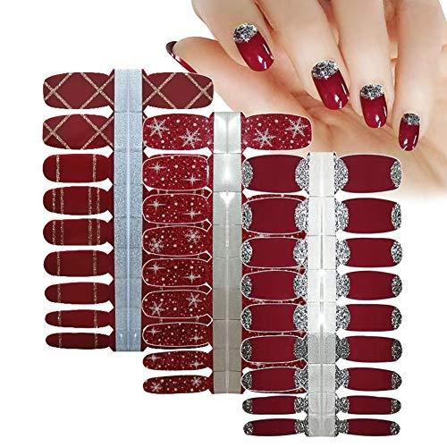 LIULI Nail Polish Strips Wine Red with White Snowflakes Glitter Stripe Design Press On Nails for Women Girls DIY Supplies