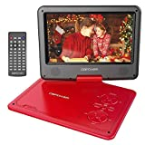 DBPOWER 11.5' Portable DVD Player with 9.5' Swivel Screen, 5-Hour Built-in Rechargeable Battery, Support CD/DVD/SD Card/USB, with Car Charger and Power Adaptor, Red