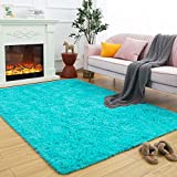 Maxsoft Fuzzy Rugs for Living Room, Teal Shag Area Rugs for Bedroom, 3.9 x 5.9 Feet, Fluffy Room Carpets for Girls, Kids, Plush Furry Rugs for Nursery, Bedside, Floor