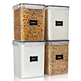 Large Food Storage Containers 5.2L / 176oz, Vtopmart 4 Pieces BPA Free Plastic Airtight Food Storage Canisters for Flour, Sugar, Baking Supplies, with 4 Measuring Cups and 24 Labels, Black