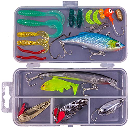 Ncheli 24pcs Set da Pesca Professionale,Cucchiaini da Pesca Esche Artificiali Spinning Pesca Esche Esche da Pesca Esche Artificiali Fishing Kit Esche Artificiali